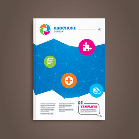 puzzle globe: Brochure or flyer design. Plus add circle and puzzle piece icons. Document file and globe with hand pointer sign symbols. Book template. Vector