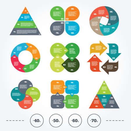 40 50: Circle and triangle diagram charts. Sale discount icons. Special offer price signs. 40, 50, 60 and 70 percent off reduction symbols. Background with 4 options steps. Vector Illustration