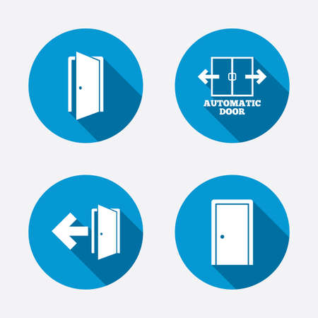emergency exit: Automatic door icon. Emergency exit with arrow symbols. Fire exit signs. Circle concept web buttons. Vector
