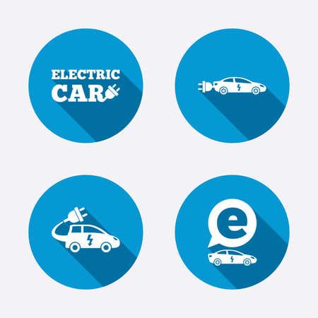 sedan: Electric car icons. Sedan and Hatchback transport symbols. Eco fuel vehicles signs. Circle concept web buttons. Vector Illustration