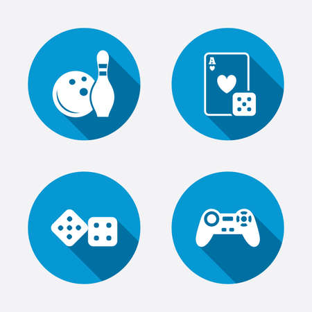 playing video game: Bowling and Casino icons. Video game joystick and playing card with dice symbols. Entertainment signs. Circle concept web buttons. Vector