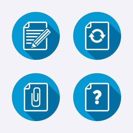 attach: Archivo iconos de refresco. Pregunta ayuda y el lápiz de edición de símbolos. Clip de papel adjuntar signo. Botones concepto de web de círculo. Vector Vectores