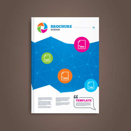 Brochure or flyer design. Download document icons. File extensions symbols. PDF, ZIP zipped, XML and DOC signs. Book template. Vector