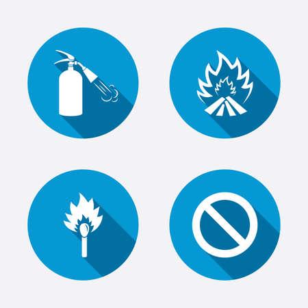 fire extinguisher sign: Iconos de la llama fuego. Muestra del extintor. Prohibici�n s�mbolo de detenci�n. Matchstick ardiente. Botones concepto de web de c�rculo. Vector