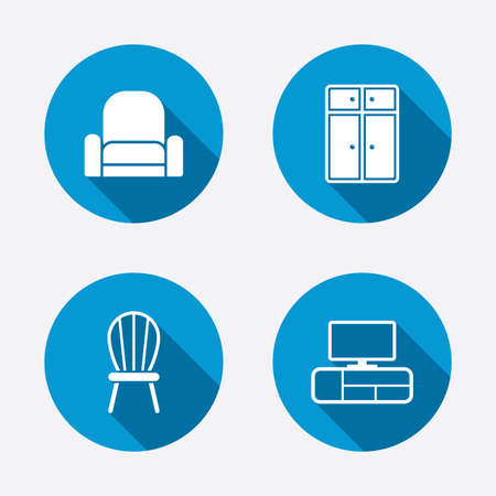 Furniture icons. Cupboard, chair and TV table signs. Modern armchair symbol. Circle concept web buttons. Vector Vector