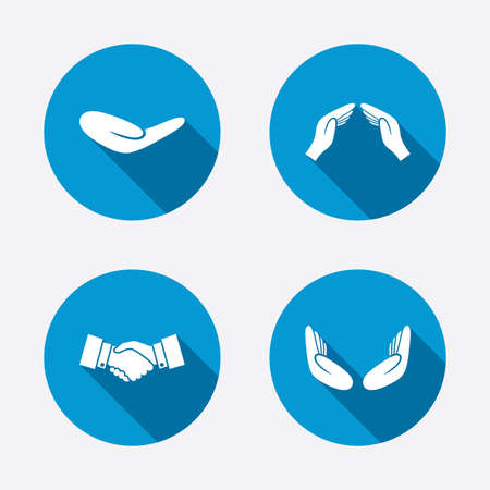 shake hands: Hand icons. Handshake successful business symbol. Insurance protection sign. Human helping donation hand. Prayer meditation hands. Circle concept web buttons. Vector