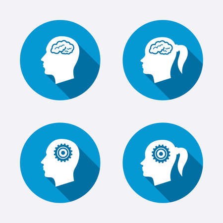 head icon: Head with brain icon. Male and female human think symbols. Cogwheel gears signs. Woman with pigtail. Circle concept web buttons. Vector