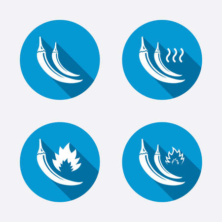Hot chili pepper icons. Spicy food fire sign symbols. Circle concept web buttons. Vector Vector