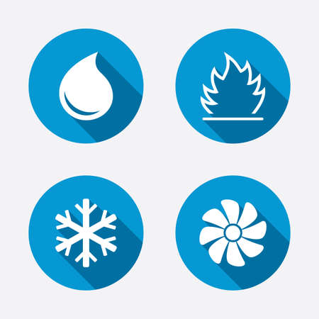 HVAC icons. Heating, ventilating and air conditioning symbols. Water supply. Climate control technology signs. Circle concept web buttons. Vector