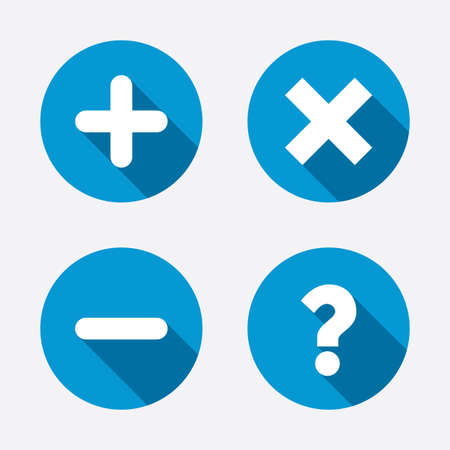 Plus and minus icons. Delete and question FAQ mark signs. Enlarge zoom symbol. Circle concept web buttons. Vector Vector