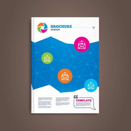webmail: Brochure or flyer design. Mail envelope icons. Print message document symbol. Post office letter signs. Spam mails and search message icons. Book template. Vector Illustration