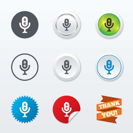 usr: Microphone icon. Speaker symbol. Paid music sign. Circle concept buttons. Metal edging. Star and label sticker. Vector