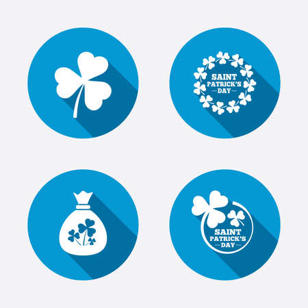 clover buttons: Saint Patrick day icons. Money bag with clover sign. Wreath of trefoil shamrock clovers. Symbol of good luck. Circle concept web buttons. Vector Illustration