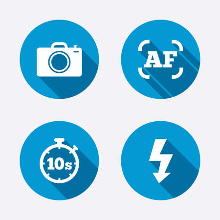 autofocus: Photo camera icon. Flash light and autofocus AF symbols. Stopwatch timer 10 seconds sign. Circle concept web buttons. Vector Illustration