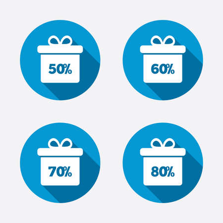 50 to 60: Sale gift box tag icons. Discount special offer symbols. 50%, 60%, 70% and 80% percent discount signs. Circle concept web buttons. Vector