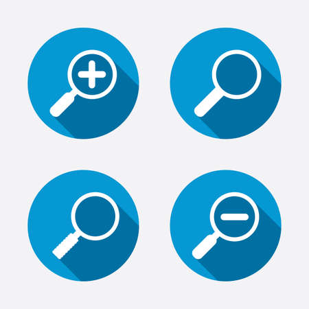 convex shape: Magnifier glass icons. Plus and minus zoom tool symbols. Search information signs. Circle concept web buttons. Vector Illustration