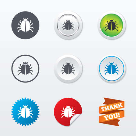 disinfection: Bug sign icon. Virus symbol. Software bug error. Disinfection. Circle concept buttons. Metal edging. Star and label sticker. Vector