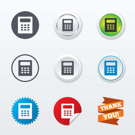 bookkeeping: Calculator sign icon. Bookkeeping symbol. Circle concept buttons. Metal edging. Star and label sticker. Vector
