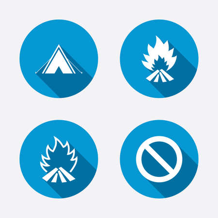 long weekend: Tourist camping tent icon. Fire flame and stop prohibition sign symbols. Circle concept web buttons. Vector