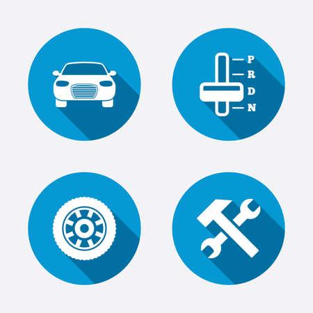 Pictogrammen van het vervoer. Auto toerenteller en automatische transmissie symbolen. Reparatie service tool met wiel teken. Cirkel concept knoppen. Vector