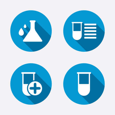 laboratory equipment: Chemistry bulb with drops icon. Medical test signs. Laboratory equipment symbols. Circle concept web buttons. Vector