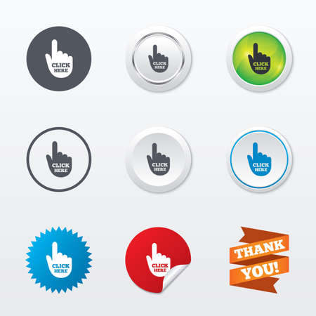 press button: Click here hand sign icon. Press button. Circle concept buttons. Metal edging. Star and label sticker. Vector