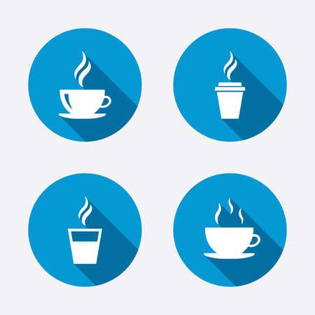 taza cafe: Icono de la taza de café. Bebidas calientes gafas símbolos. Para llevar o para llevar señales de bebidas de té. Botones concepto de web de círculo. Vector