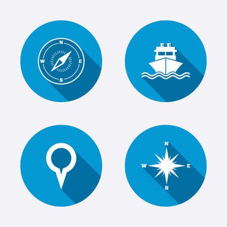 brujula: Windrose iconos de navegaci�n br�jula. Env�o signo de entrega. Ubicaci�n s�mbolo puntero del mapa. Botones concepto de web de c�rculo. Vector