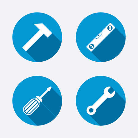 spirit level: Screwdriver and wrench key tool icons. Bubble level and hammer sign symbols. Circle concept web buttons. Vector