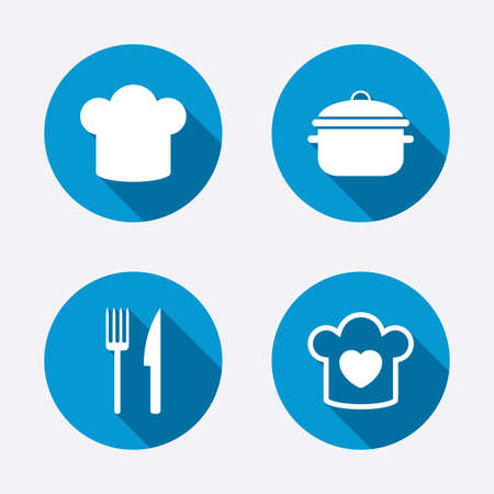 stew: Chief hat and cooking pan icons. Fork and knife signs. Boil or stew food symbols. Circle concept web buttons. Vector