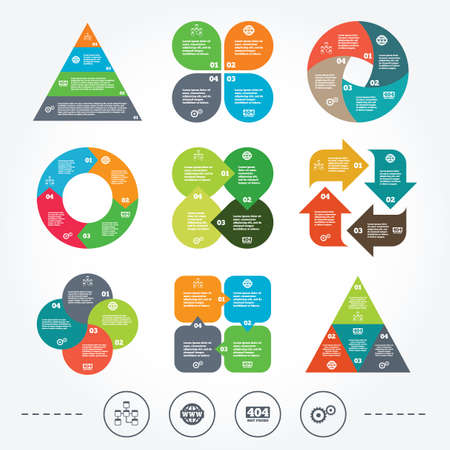 mysql: Circle and triangle diagram charts. Website database icon. Internet globe and gear signs. 404 page not found symbol. Under construction. Background with 4 options steps. Vector