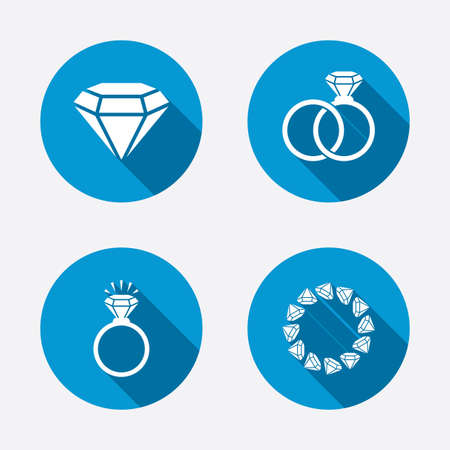 web engagement: Rings icons. Jewelry with shine diamond signs. Wedding or engagement symbols. Circle concept web buttons. Vector