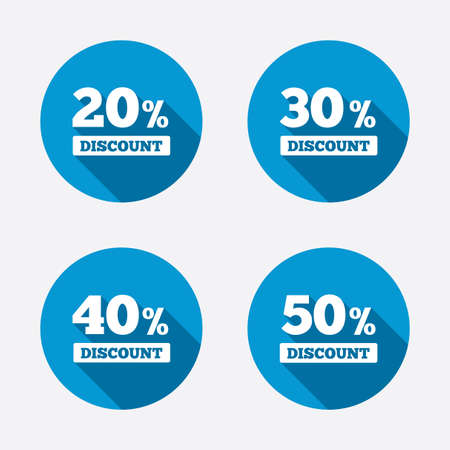 30 to 40: Sale discount icons. Special offer price signs. 20, 30, 40 and 50 percent off reduction symbols. Circle concept web buttons. Vector