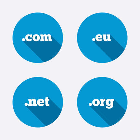 dns: Top-level internet domain icons. Com, Eu, Net and Org symbols. Unique DNS names. Circle concept web buttons. Vector Illustration