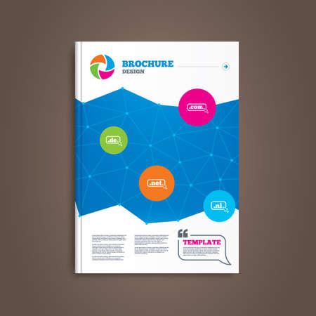 nl: Brochure or flyer design. Top-level internet domain icons. De, Com, Net and Nl symbols with cursor pointer. Unique national DNS names. Book template. Vector Illustration
