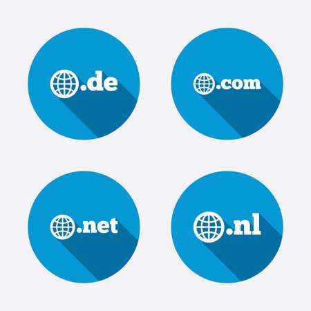 nl: Top-level internet domain icons. De, Com, Net and Nl symbols with globe. Unique national DNS names. Circle concept web buttons. Vector Illustration