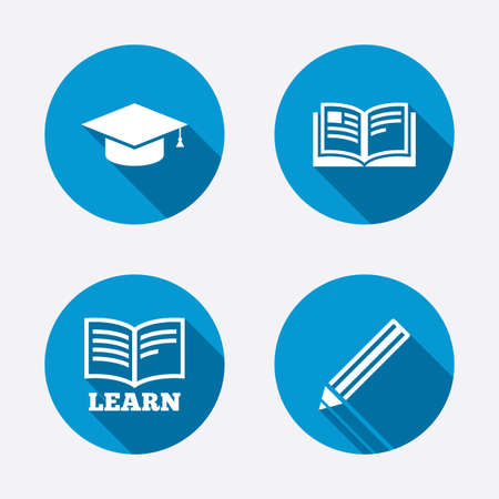 higher: Pencil and open book icons. Graduation cap symbol. Higher education learn signs. Circle concept web buttons. Vector Illustration