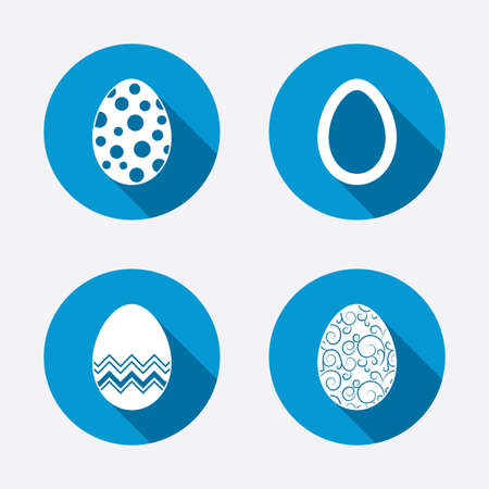 pasch: Easter eggs icons. Circles and floral patterns symbols. Tradition Pasch signs. Circle concept web buttons. Vector Illustration