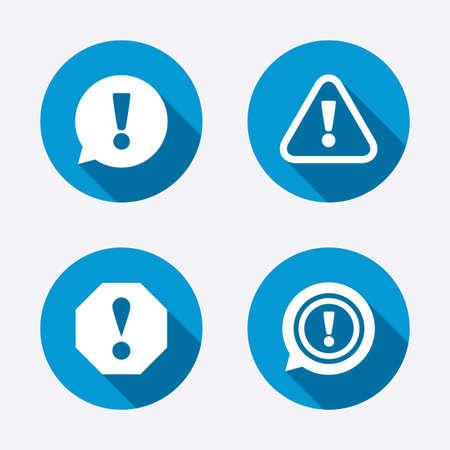 注目アイコン。感嘆音声バブルのシンボル。注意標識。サークル コンセプトの web ボタンです。ベクトル  イラスト・ベクター素材