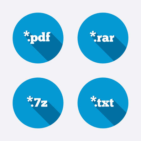 rar: Document icons. File extensions symbols. PDF, RAR, 7z and TXT signs. Circle concept web buttons. Vector