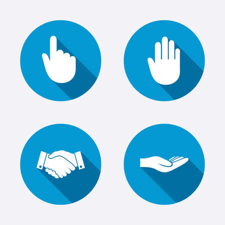 donating: Hand icons. Handshake successful business symbol. Click here press sign. Human helping donation hand. Circle concept web buttons. Vector