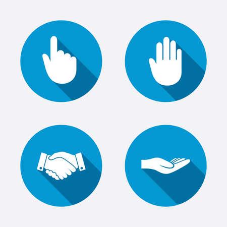 Iconos de la mano. Apretón de manos símbolo de negocio de éxito. Haga clic aquí pulse signo. Ayudando Humano mano donación. Botones concepto de web de círculo. Vector Foto de archivo - 37327616