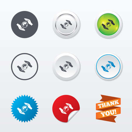 peace label: Worldwide insurance sign icon. Hands protect cover planet symbol. Travel insurance. World peace. Circle concept buttons. Metal edging. Star and label sticker. Vector