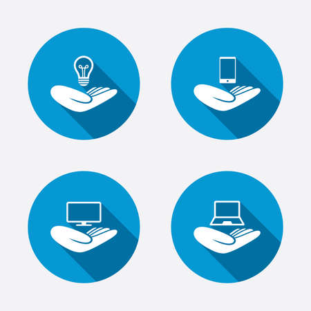 intellectual property: Helping hands icons. Intellectual property insurance symbol. Smartphone, TV monitor and pc notebook sign. Device protection. Circle concept web buttons. Vector