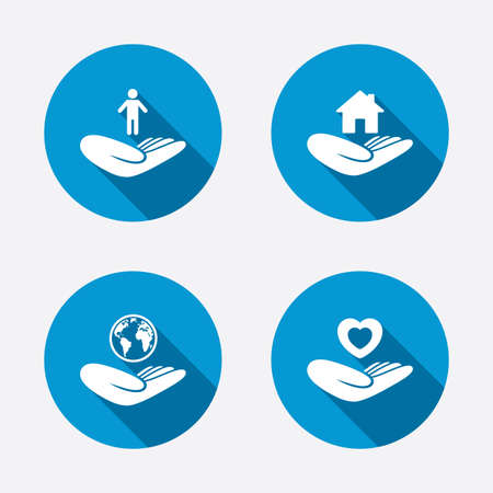 Helping hands icons. Heart health and travel trip insurance symbols. Home house or real estate sign. Circle concept web buttons. Vector