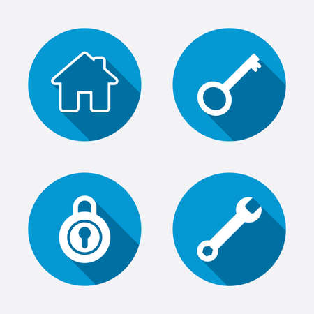 house key: Home key icon. Wrench service tool symbol. Locker sign. Main page web navigation. Circle concept web buttons. Vector