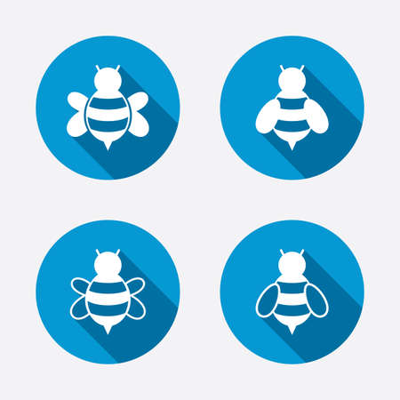 sting: Honey bees icons. Bumblebees symbols. Flying insects with sting signs. Circle concept web buttons. Vector Illustration