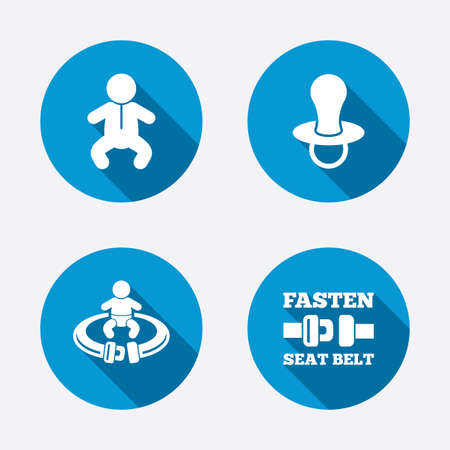 baby toilet seat: Baby infants icons. Toddler boy with diapers symbol. Fasten seat belt signs. Child pacifier and pram stroller. Circle concept web buttons. Vector