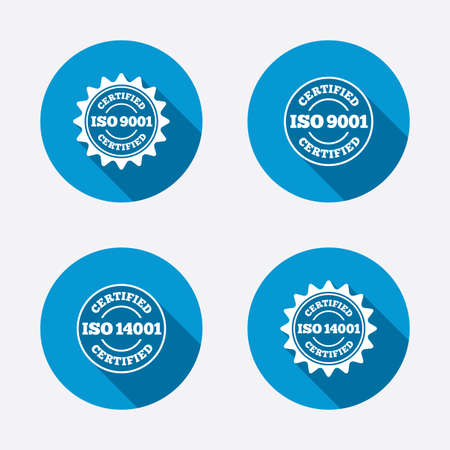 iso: ISO 9001 and 14001 certified icons. Certification star stamps symbols. Quality standard signs. Circle concept web buttons. Vector Illustration