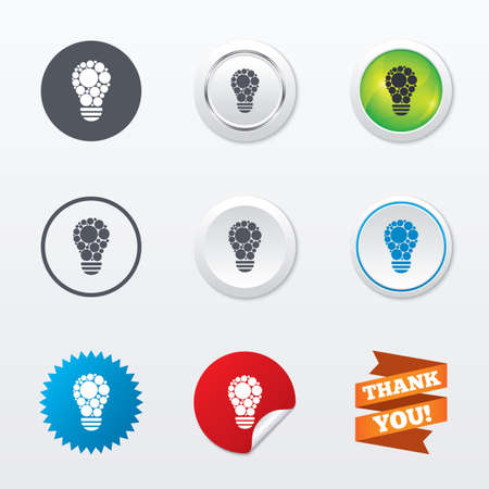 metal light bulb icon: Light lamp sign icon. Bulb with circles symbol. Idea symbol. Circle concept buttons. Metal edging. Star and label sticker. Vector